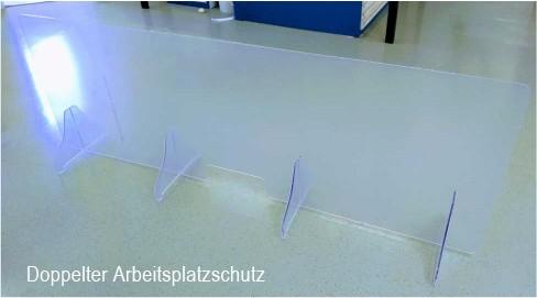 Niesschutz stehend senkrecht   190 cm breit ohne Ausschnitt   unbedruckt
